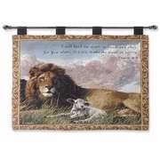 (Manual Inspirational Collection 26 X 36-Inch Wall Hanging and Finial Rod, Lion and Lamb with Verse)