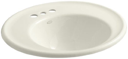 KOHLER K-2822-4B-96 Iron Works Bathroom Sink with Biscuit Exterior and 4