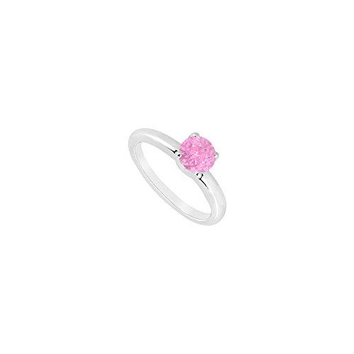 Pink Topaz Ring 14K White Gold 1.00 CT TGW