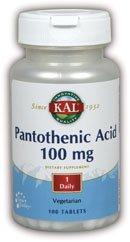 Kal 100 Mg Pantothenic Acid Tablets, 100 Count (100 Tabs Acid Mg)