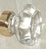 LOTS of 4 Ice Clear 24% Lead Crystal Glass LARGEST Old Town Cabinet Knobs-polished BRASS - Mayfair Glasses