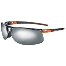 02 Safety Glasses with Black/Orange Frame and Silver Mirror Tint Hardcoat Lens ()