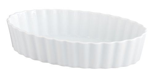 HIC Deep Oval Baking Dish, Fine White Porcelain, 12.25 x 2.5-Inches Deep Oval Baking Dish