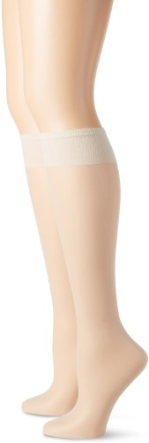 (Hanes Silk Reflections Women's Plus-Size 2 Pack Knee High, Pearl, One Size)
