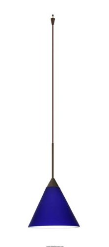 (Besa Lighting XP-5121CM-BR 1X50W Gy6.35 Kani Pendant with Cobalt Blue Matte Glass, Bronze Finish)