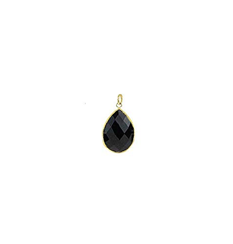 14K Yellow Gold Handmade Gemstone Pendant With Pear Shape Black Onyx