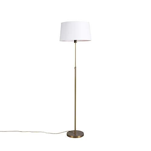 QAZQA Rústico Lámpara de pie de bronce con pantalla de lino ...
