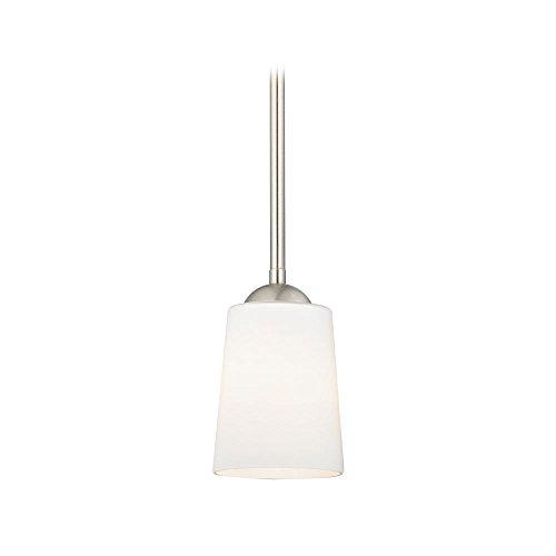 Satin Nickel Mini-Pendant Light with Satin White Glass