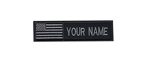 USA Flag American Flag Custom Name Text Embroidered Morale Patch Hook Backing (1 Velcro Patch)