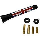 Panpage Roof Top Radio Stubby Union Jack Flag Aluminum Screw Base Alloy Car Stylish Antenna 14mm x 77mm x 9mm For Mini Cooper Car Auto External Accessories