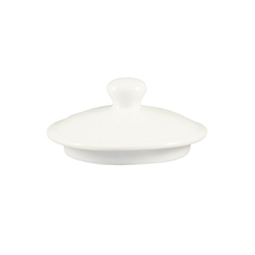 CAC China LN-32-LID Lion Head Super White Porcelain Round Lid for LN-32-P Lion Head Bouillon, 5-3/8 by 5-3/8 by 2-1/2-Inch, 24-Pack by CAC China
