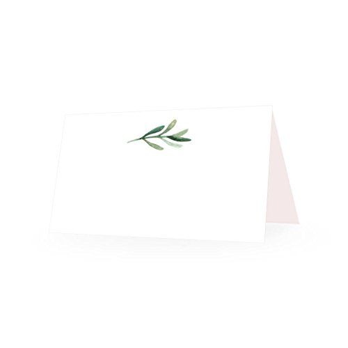 25 Elegant Greenery Tent Table Place Cards for Wedding Thanksgiving Christmas Holiday Easter Catering Buffet Food Sign Paper Name Escort Card Folded Seat Assignment Setting Label Banquet Party Event -