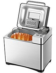 (Programmable Breadmaker, Aicok 2 Pound Automatic Bread Maker Machine with 19 Programs Cycles, Gluten-Free Setting, Brushed Chrome, FDA Certified, Silver)