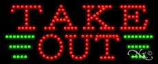 11 x 27 x 1 inches Made in USA Take Out LED Sign