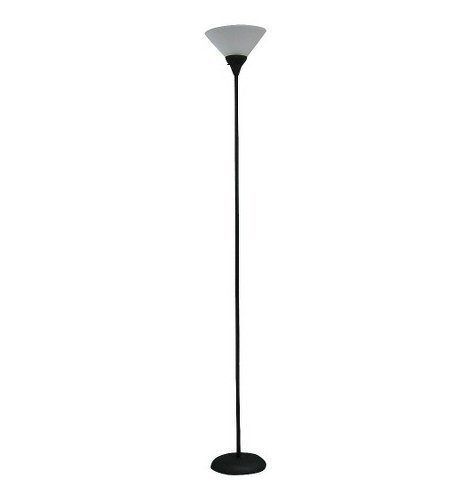 Floor Lamp Torchiere Black Metal Steel Finish 3 Way Rotary