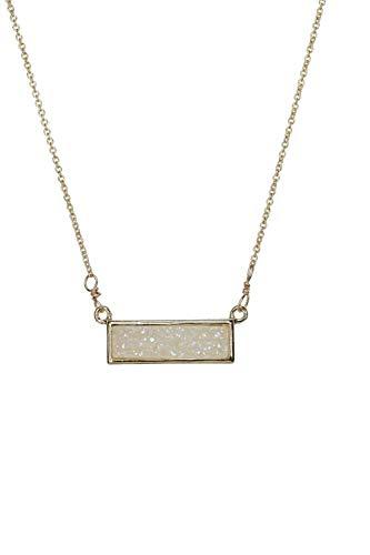 White Real Druzy Quartz Gemstone Bar Necklace Gold -17