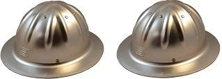 Skull Bucket Aluminum Hard Hats Full Brim with Ratchet Suspensions Silver One Size Fits Most 2 Pack