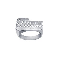 Name Ring Sterling Silver Personalized Handcrafted with Name of Your Choice Size 5 thru 10 Made in USA (Sterling Silver Name Ring)