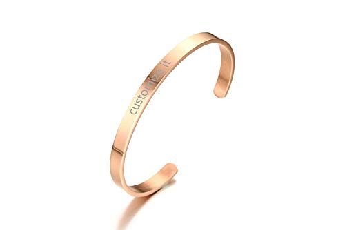 PJ Personalized Stainless Steel Customs Engraving Quote Mantra Message Inspirational Cuff Bangle Bracelets,Rose Gold