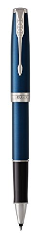 PARKER Sonnet Rollerball Pen, Blue Lacquer with Palladium Trim, Fine Point Black Ink (1931535) by Parker (Image #4)