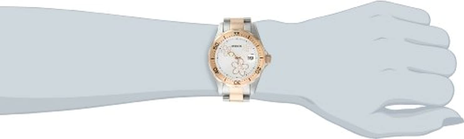 Invicta Women s 12507 Pro Diver Silver Dial Crystal Accented Two Tone Stainless Steel Watch