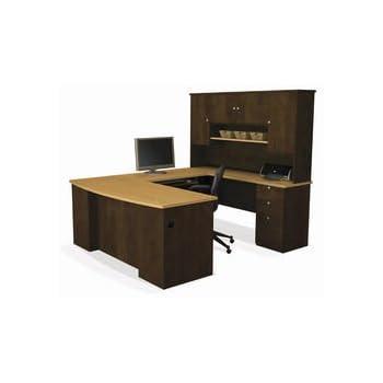 Bestar Manhattan U-shaped Workstation, Secret Maple/Chocolate