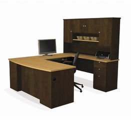 Contemporary Deluxe Computer Desk - Bestar Manhattan U-shaped Workstation, Secret Maple/Chocolate