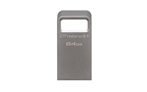 Kingston DataTraveler Micro 3.1 64GB USB 3.0 Compatible Hi-Speed up to 100MB/s Ultra-Small Metal Case Flash Drive (DTMC3/64GB) - Silver (Kingston Datatraveler Se9 G2 64gb Usb 3-0)