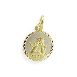 Echt 14 Karat Gold 585 Bicolor Schutzengel 12mm Durchmesser (Art.213422) GRATIS-SOFORT-GRAVUR Viennagold