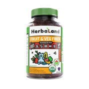 Vegan Fruit, Veg and Fiber Supplement for Kids by Herbaland – Plant-Based Sugar-Free Vitamin Gummies High in Fiber – Fuits and Vegetables Blend – Black Currant Flavor – 60 Gummies