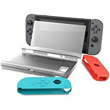 Collen Hard Back Protective Case Cover with Joy-Con Gel Guards and Tempered Glass Screen Protector for Nintendo ()