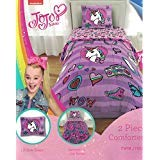 Nickelodeon JoJo Siwa 6pc Full Bedding Collection with Comforter, Sheet Set (Fitted and Flat Sheets), Sham and Pillowcases, Purple and Pink