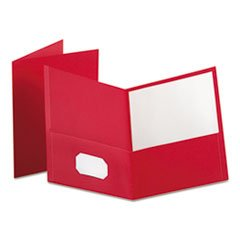 Twin-Pocket Folder, Embossed Leather Grain Paper, Red By: Oxford