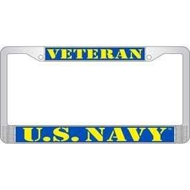 Eagle US Navy Veteran Chrome Auto License Plate Frame eagemb LP3922 Navy Vet 6.30