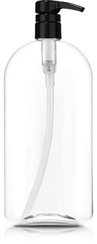 Empty Shampoo Bottle with Pump, 32oz/1Liter/Large, BPA-FREE, Lightweight(Medium Density PETE1 Plastic)