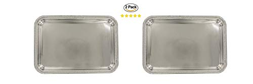 (2 Square Silver Nickel-Plated Serving Trays. Silver Wedding Dinner Party Platter. Charging Plates. Hors D'oeuvres and Desserts Tray. Metal Serving Tray (9x12))