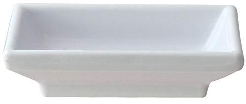 Rectangular Melamine Sauce Dish and Pan Scraper, 3.75 Inch x 2.5 Inch, White (12)