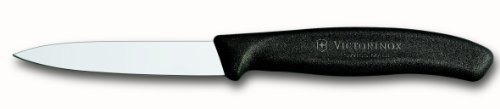 Edge Spear (Victorinox 3.25 Inch Swiss Classic Paring Knife with Straight Edge, Spear Point, Black)