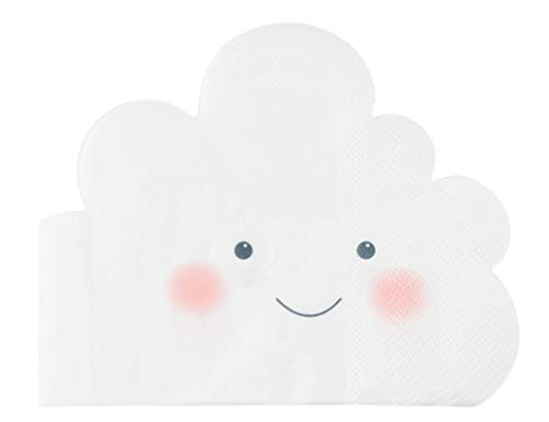 Cocktail Napkins - 50-Pack Disposable Paper Die-Cut Napkin, Cute Puffy Clouds Design, Kids Birthday, Gender Reveal, Baby Shower Party Supplies, 3-Ply, White, Folded 6.3 x 5.1 Inches ()