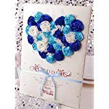Aimeart European Style Wedding Guest Book With Lace Guest Sign-In Book/Guest Registry/Guestbook for Bridal Shower Party Engagement Party Favors, Light Blue & Royal Blue