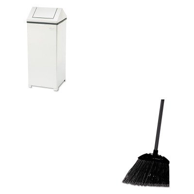 KITRCP637400BLARCPT1424SSPL - Value Kit - Fire-Safe Swing Top Receptacle, Square, Nonmagnet Steel, 24 gal, Stainless Steel (RCPT1424SSPL) and Rubbermaid-Black Brute Angled Lobby Broom (RCP637400BLA) by Rubbermaid