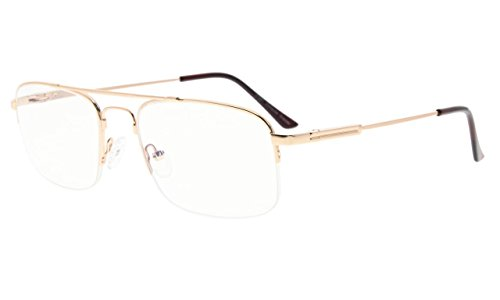 Eyekepper Transparent Lens UV Protection Half-rim Reading Glasses Memory Titanium Frame Radiation Protection - Gold Rims Transparent