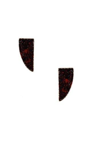 Trendy Fashion Jewelry Mini Tusk Stone Post Earring By Fashion Destination | (Burgundy) (Burgundy Mini Pendant)