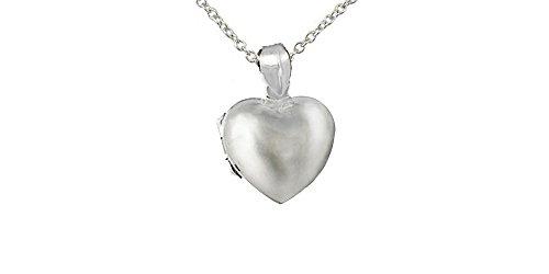 Sterling Silver Puffed Heart Locket Pendant Necklace (Puffed Heart Silver Locket Sterling)
