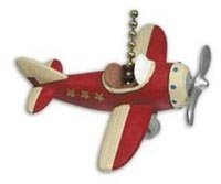 RED PLANE propeller AIRPLANE ceiling FAN PULL chain Airplane Room Decor