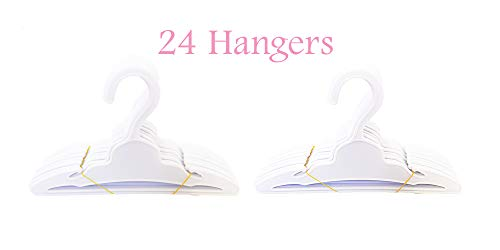Brittany's American Co. 24 Pack White Hangers Fits Girl Doll Clothes- 18 Inch Doll Clothes Hangers (Doll Clothes Hangers For 18 Inch Dolls)