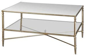 Glass Gold Leaf - Uttermost 24276 Henzler Mirrored Glass Coffee Table, Gold Leaf Finish