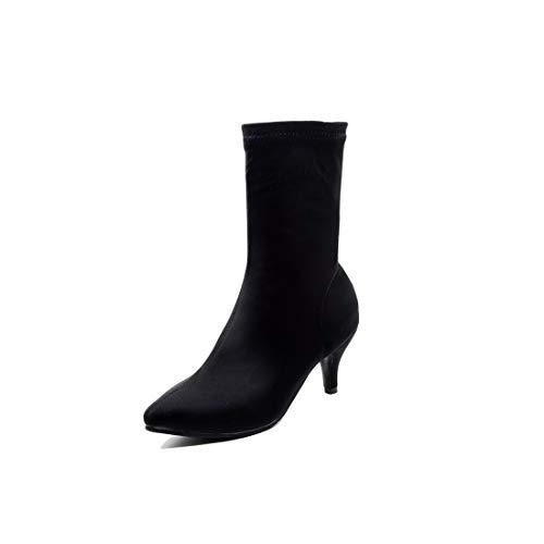 Americana de Sandalette Europea para black Mujer Lycra Zapatos y Mujer Botas de Botas Botas DEDE Bv6rqBSwx7