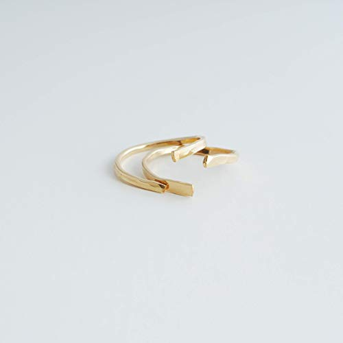Nia 14kt Gold Filled Stackable Ring Set Adjustable Thin Band Size 8 ()