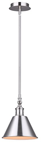 CANARM IPL582A01BN LTD Morocco 1 Light Rod Pendant Brushed Nickel with White Interior